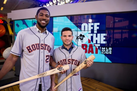 Fowler and Altuve on the set of Off the Bat