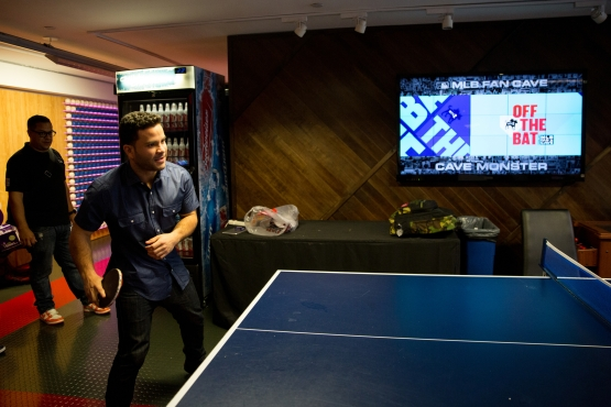 Jose Altuve shows off his table tennis skills at the Fan Cave