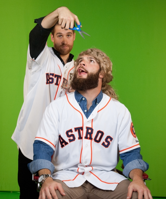 McHugh and Keuchel in a skit at the MLB Fan Cave