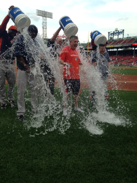 Triple Astros dousing at Fenway.
