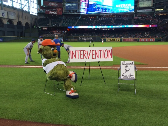 Orbit waits for an intervention on the field
