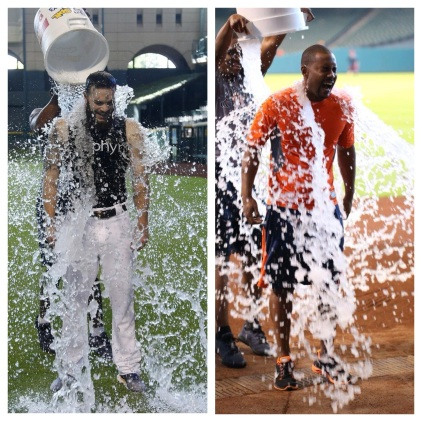 Dallas Keuchel and L.J. Hoes each took the Ice Bucket Challenge. (Photo credit for Keuchel: Karen Warren, Houston Chronicle)
