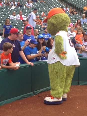 Orbit returns the signed doll to a very happy fan