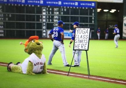 Orbit teaches yoga class to the Rangers