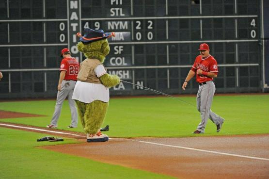 Orbit goes Trout-fishing before the game