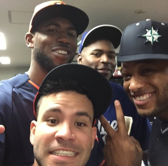 Altuve, Fowler, Cano with a Puig Photobomb