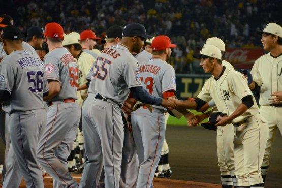 Jose Veras pre-game handshake
