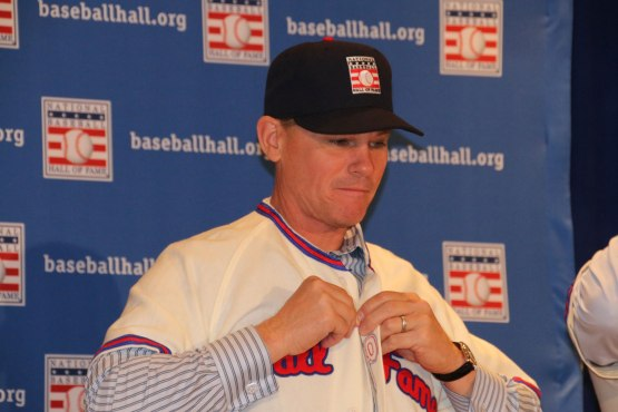 Biggio looks good in the official Hall of Fame jersey and cap