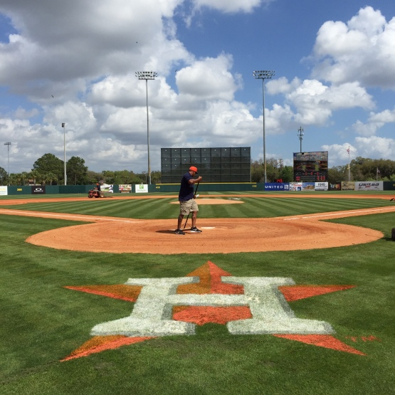 Prepping the field before the Spring Training opener