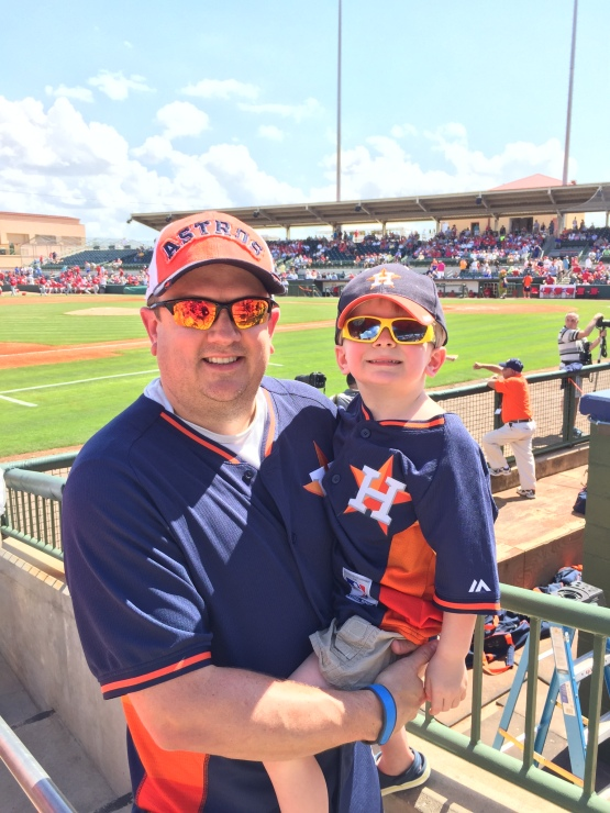 Our play ball kid and his dad!