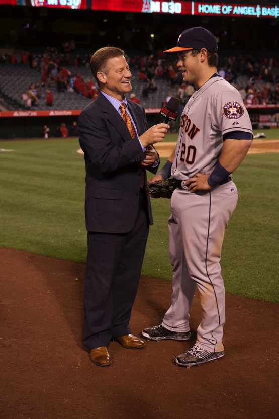 Preston Tucker's first MLB postgame on field interview (photo courtesy Angels Photo Services)