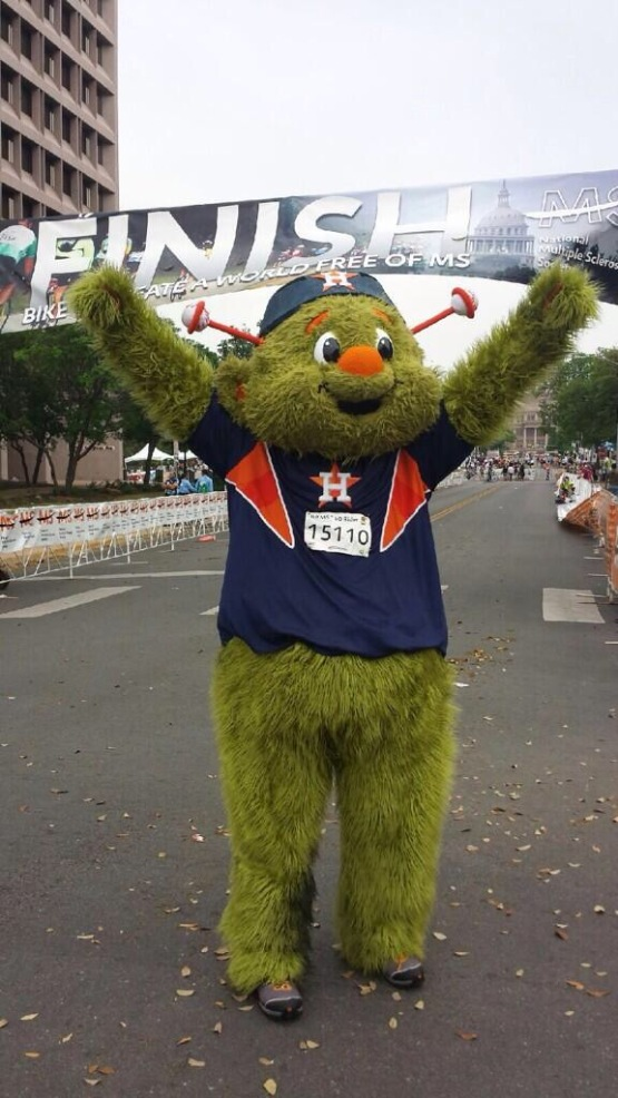 Orbit celebrates completing the MS150 in 2014.