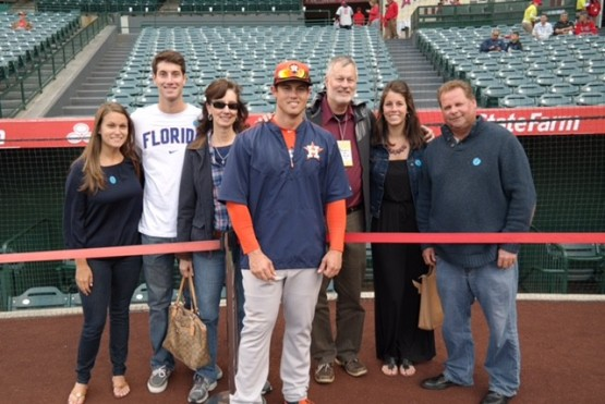 Preston Tucker's family and coach made the trip to Anaheim for his MLB debut