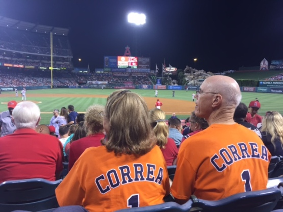 Jeff and Suzie Berg proudly watch Carlos Correa in Anaheim